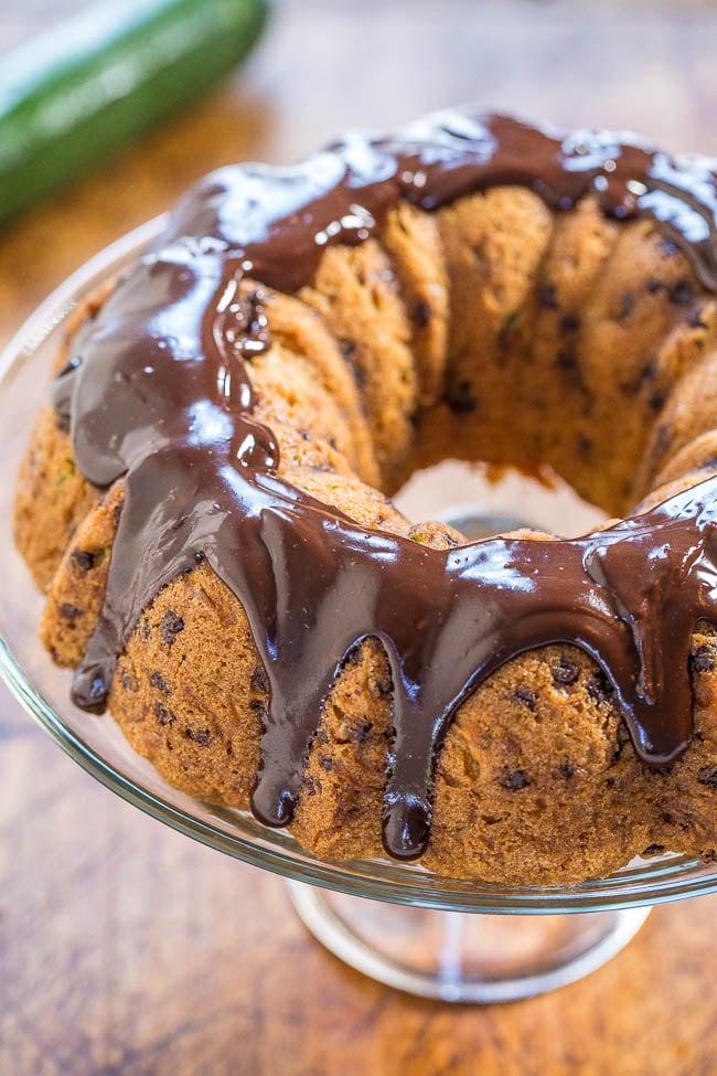 chocolate chip zucchini bundt cake on cake stand