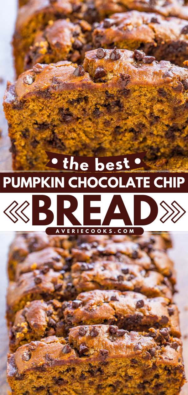 Pumpkin Chocolate Chip Bread— This pumpkin chocolate chip bread is truly the best homemade pumpkin bread you'll ever make. It's moist, packed with chocolate chips, and tastes like fall!