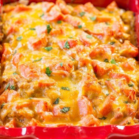 Chicken Enchilada Bake So Quick Easy Averie Cooks