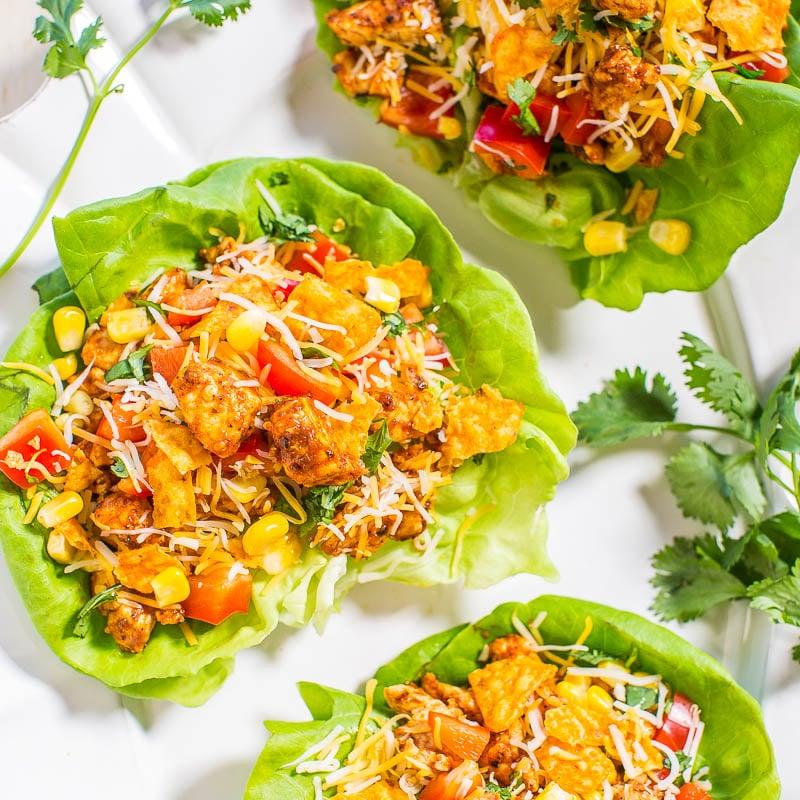 Chicken Tortilla Lettuce Wraps Averie Cooks