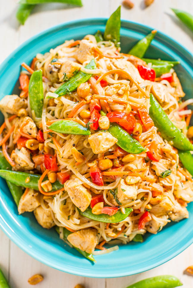 Peanut Chicken with Peanut Noodles - Easy, ready in 20 minutes, and better (and healthier) than takeout!! Peanut sauce automatically makes everything taste AMAZING!!