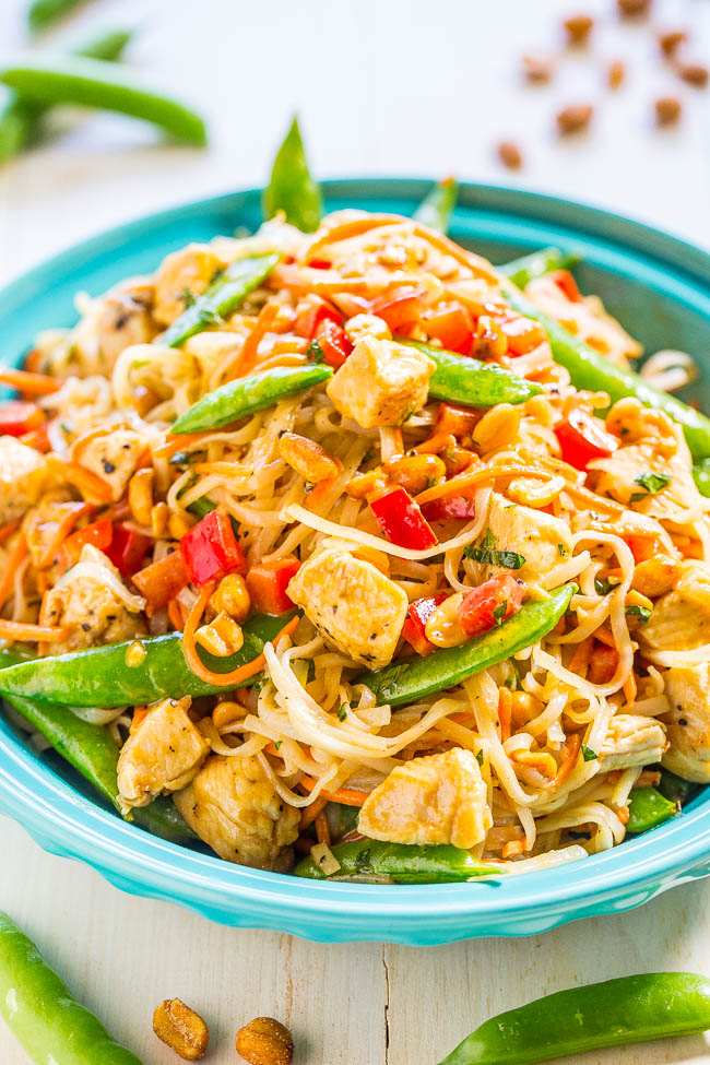 Thai Peanut Noodles with Homemade Peanut Sauce — These peanut noodles are easy, ready in 20 minutes, and packed with so much flavor from the peanut butter, ginger, and sesame oil!