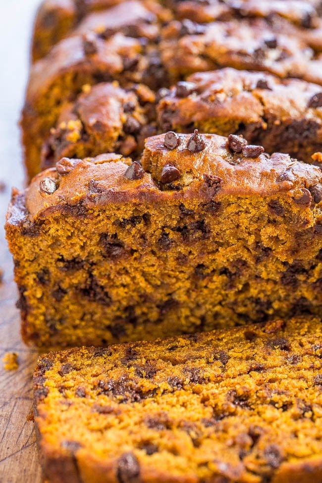 Close up of sliced Pumpkin Chocolate Chip Bread
