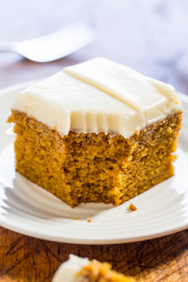 slice of Pumpkin Cake with Cream Cheese Frosting on plate