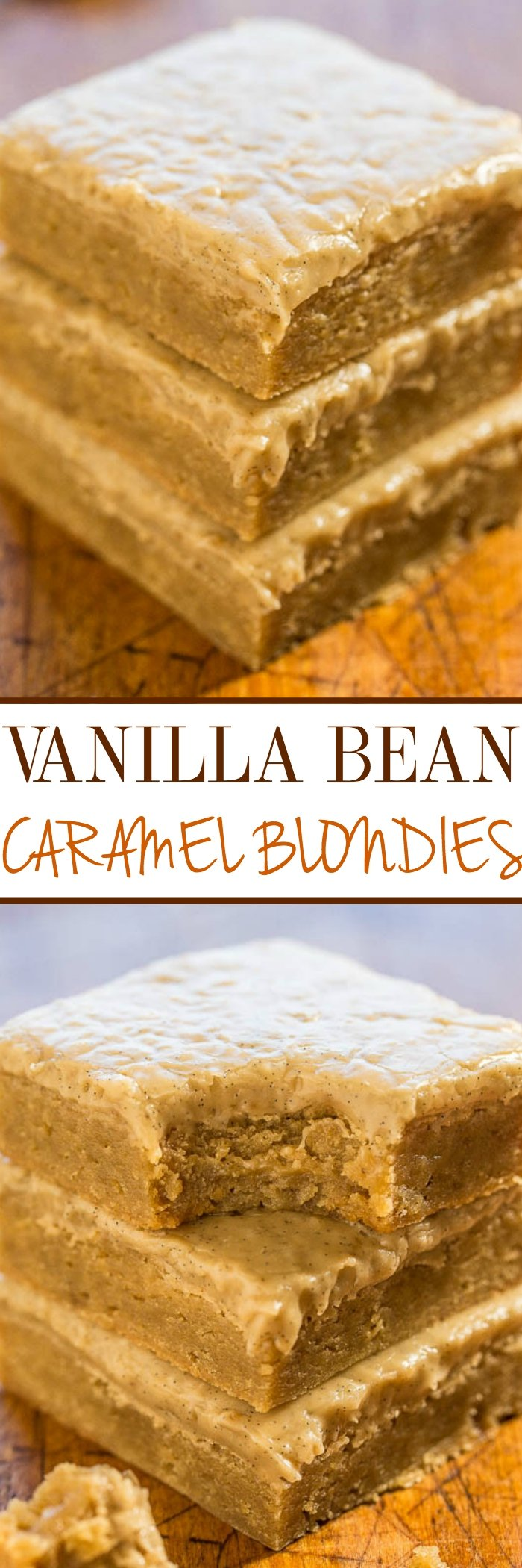 Vanilla Bean Caramel Blondies - Soft, chewy, buttery blondies topped with the most amazing vanilla bean caramel glaze!! So good that you'll want to put it on everything!! Easy, no mixer recipe!