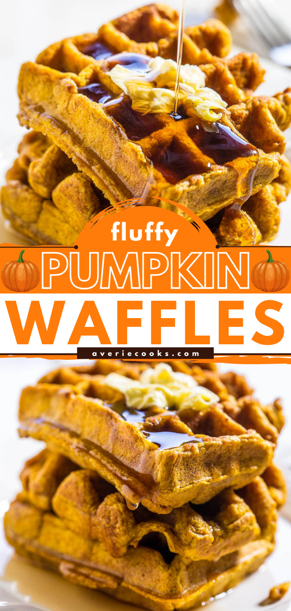 Pumpkin Waffles— These pumpkin waffles are packed with pumpkin spice flavor! They're super fluffy and are just begging to be drowned in maple syrup!