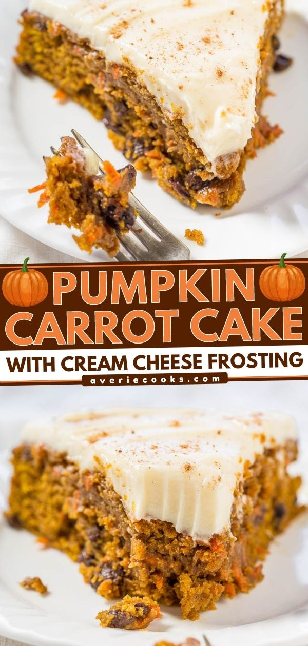 The Best Pumpkin Carrot Cake with Cream Cheese Frosting — A marriage of pumpkin cake and carrot cake into one soft, moist, tender, and amazing cake!! The tangy cream cheese frosting is truly the icing on this easy cake!!