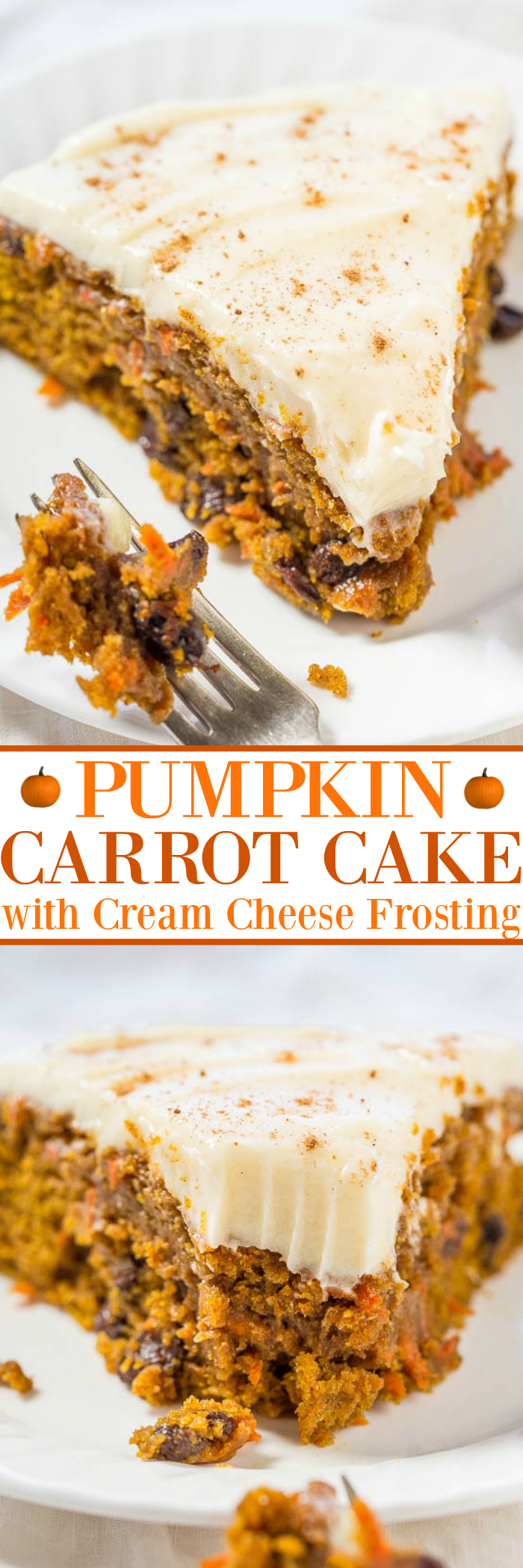 The Best Pumpkin Carrot Cake with Cream Cheese Frosting - A marriage of pumpkin cake and carrot cake into one soft, moist, tender, and amazing cake!! The tangy cream cheese frosting is truly the icing on this easy cake!!
