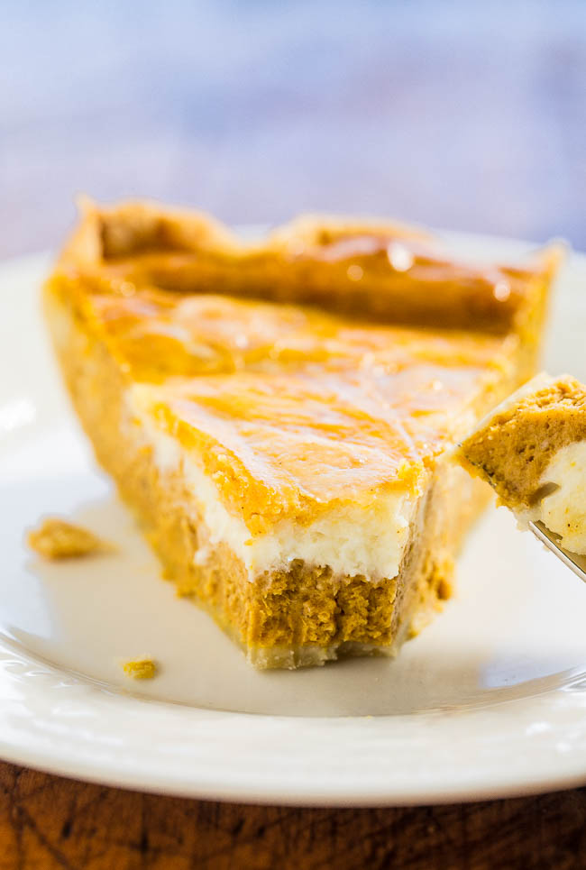 Cream Cheese PumpkinPie — Cream cheese is in the filling AND swirled on top!! A huge step up from regular pumpkin pie!! Easy, so good, and a big hit with everyone!!