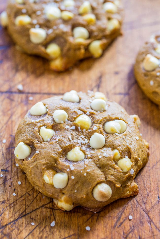two pumpkin white chocolate chip cookies