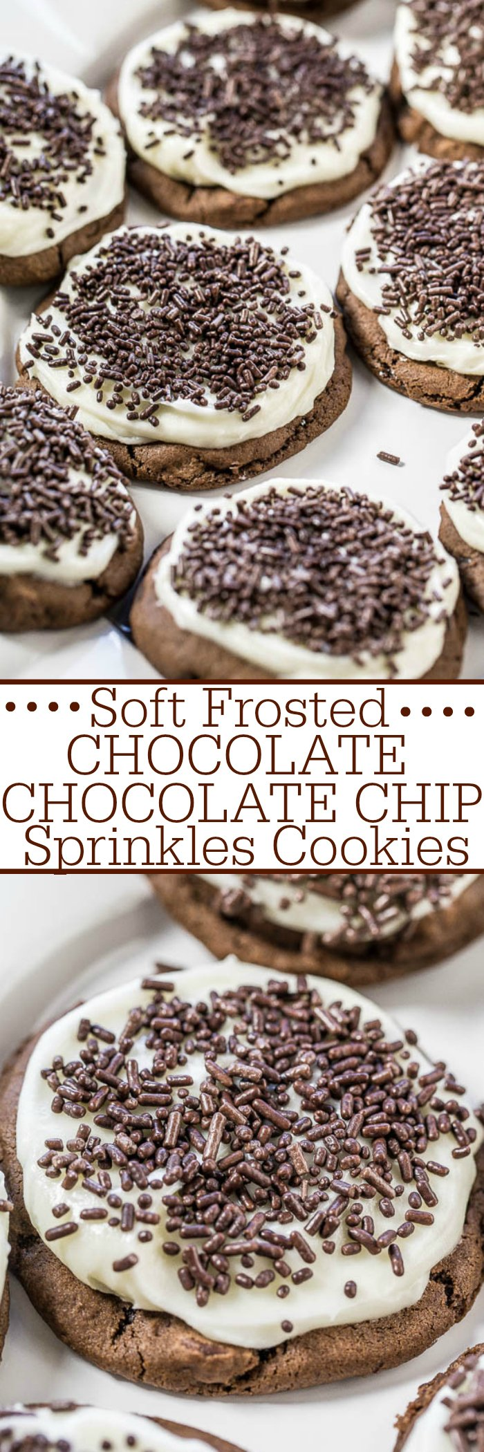Soft Frosted Chocolate-Chocolate Chip Sprinkles Cookies - Soft, chewy, very chocolaty cookies topped with tangy cream cheese frosting!! A match made in heaven! And everything's better with sprinkles!!