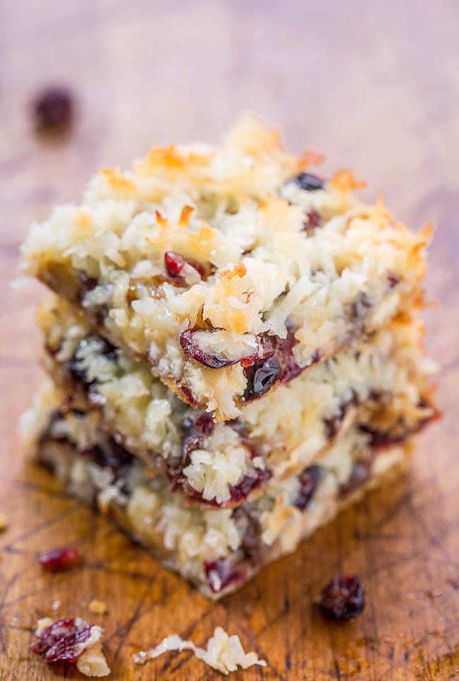 Cranberry Bliss Seven Layer Bars Averie Cooks