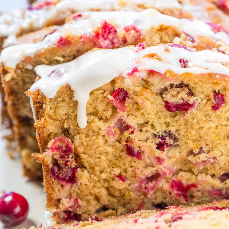 Cranberry Orange Bread with Sweet Orange Glaze