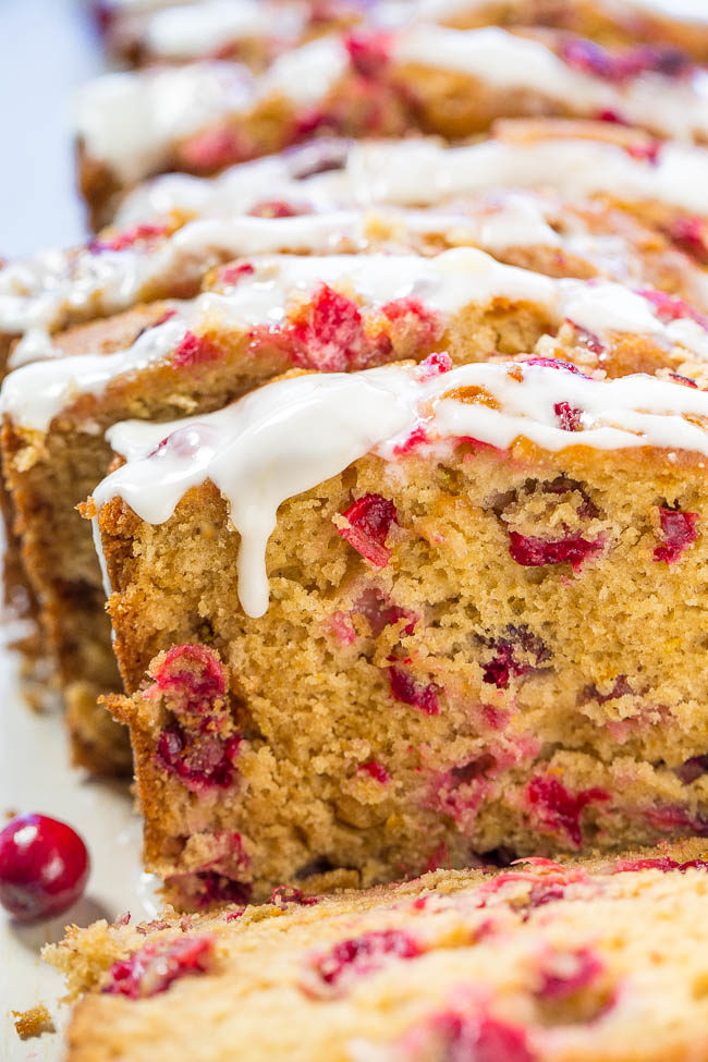 Close up of sliced Cranberry Orange Bread