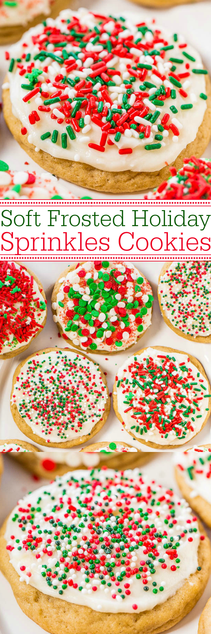 Soft Frosted Sprinkles Cookies — Holiday sugar cookies topped with cream cheese frosting and loaded with sprinkles! Easy, no-roll cookies that everyone goes crazy for!