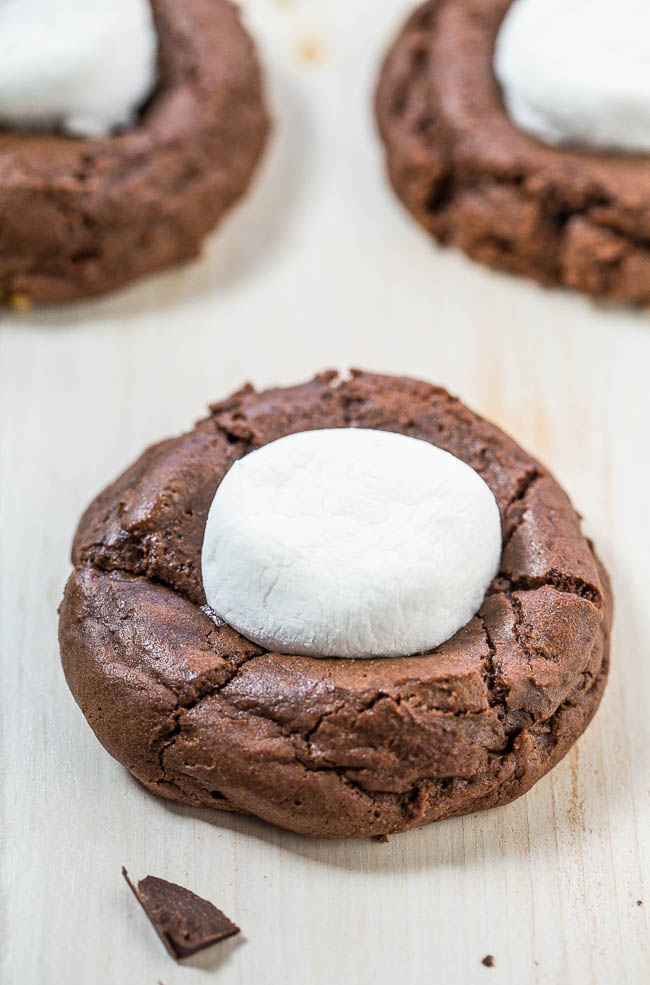 hot cocoa cookies on white counter