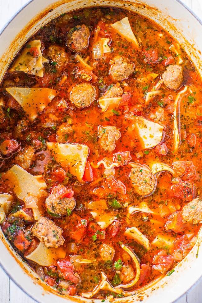 Overhead shot of The Best Lasagna Soup