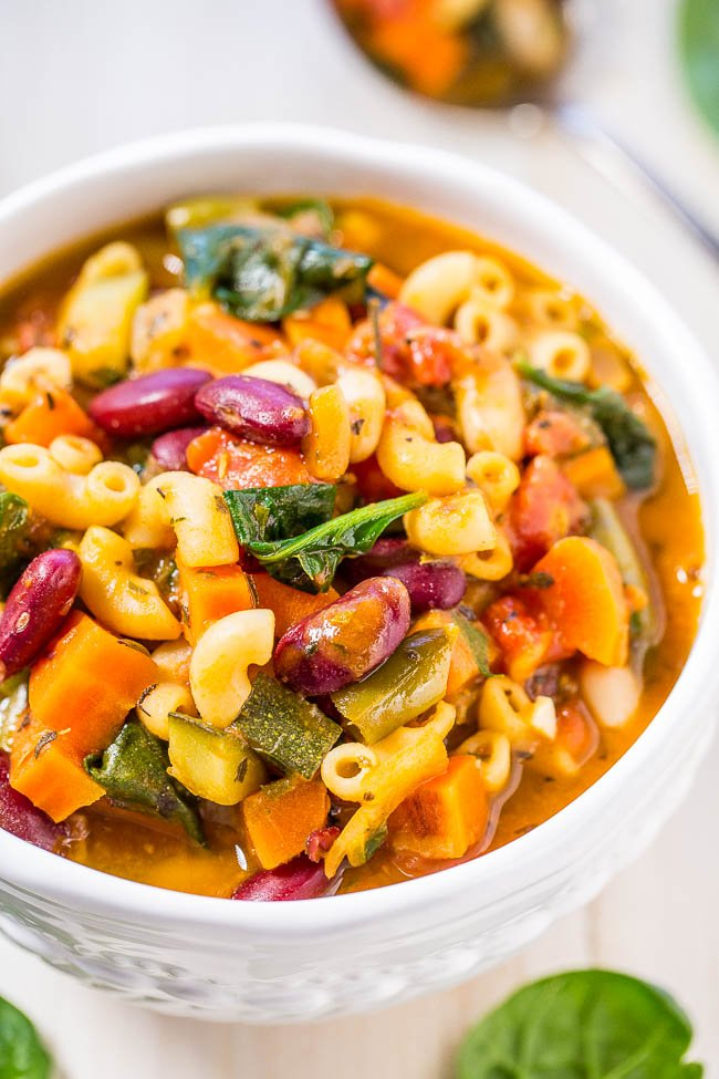easy minestrone soup in white bowl
