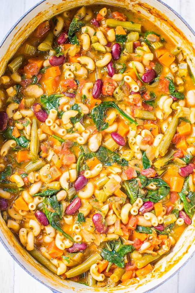 Copycat Olive Garden Minestrone Soup in large Dutch oven