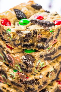 Loaded M&M Oreo Cookie Holiday Bars