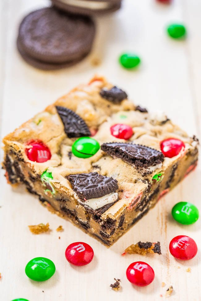 M&M's Cookie Bar surrounded by holiday M&M's