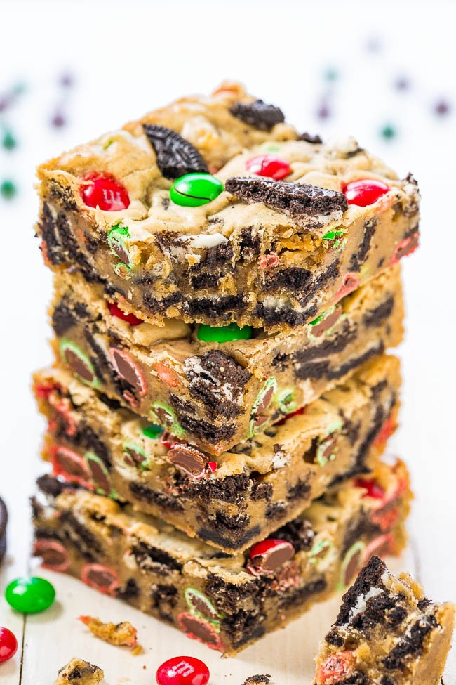 stack of four oreo and M&M's Cookie Bars