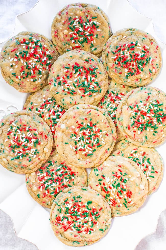 Holiday Cookies on white platter