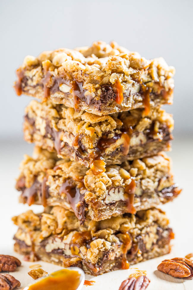 Salted Caramel Pecan Bars — These bars are packed with chocolate, oats, candied pecans, and are dripping with salted caramel! Beyond-words amazing and an absolute must-make!!