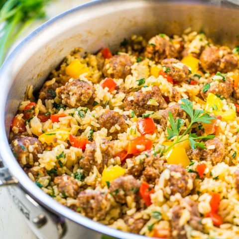 Easy One-Skillet Sausage and Peppers with Rice