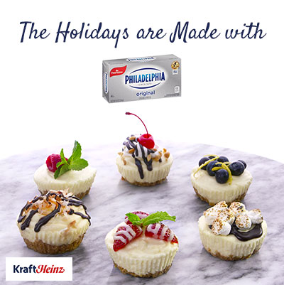Mini Cheesecakes with the slogan The Holidays are Made With Philadelphia