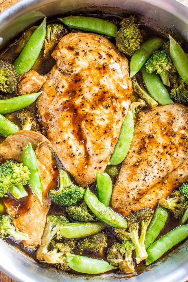 Overehead shot of One-Skillet Balsamic Chicken and Vegetables