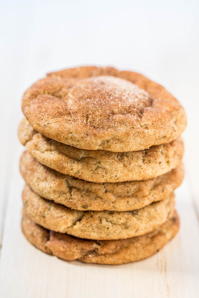 Chai Cookies — Everything you love about regular snickerdoodles, but with the added bonus of chai spices!! Soft, pillowy, and the cinnamon-sugar coating makes them irresistible!!