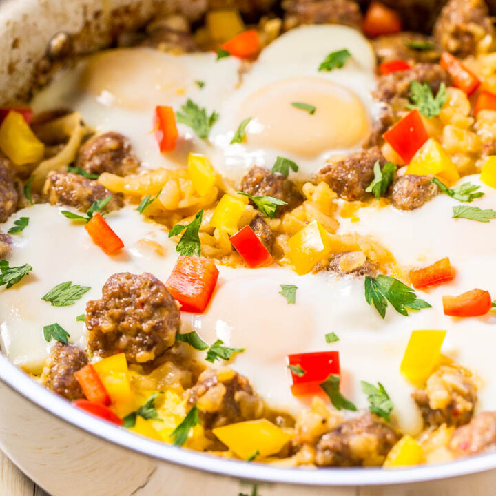 Easy Eggs, Sausage, and Hash Browns Skillet