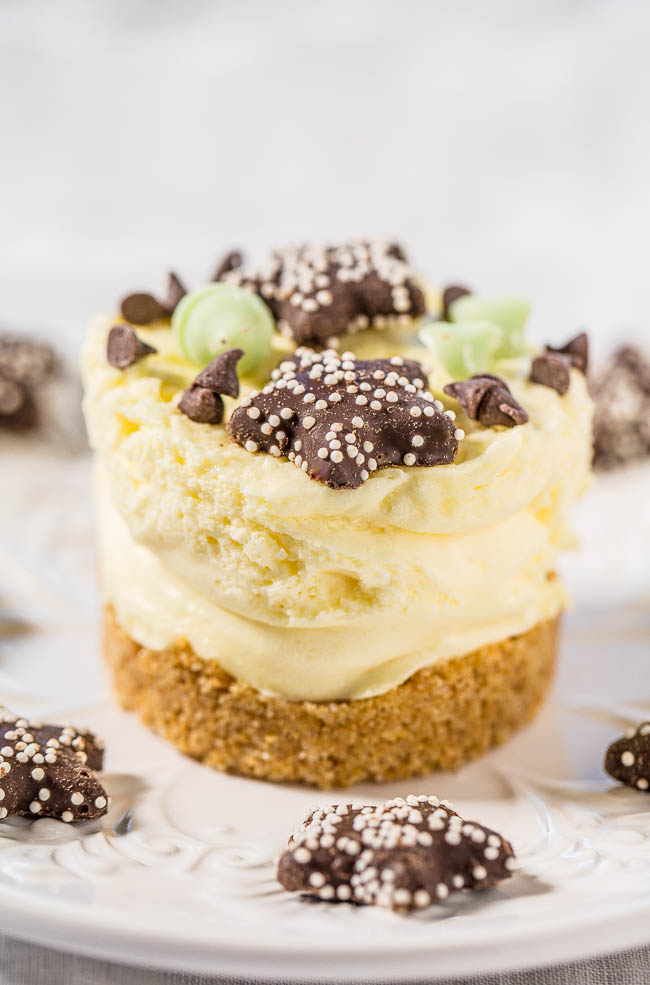 No-Bake Mini Cheesecake on white plate with mini cookies