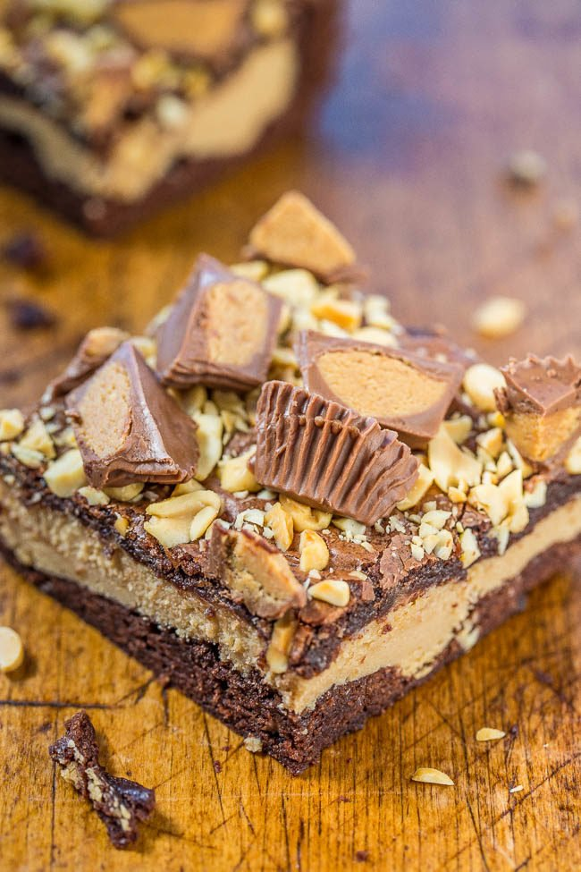 One Peanut Butter Cup Cheesecake Brownie