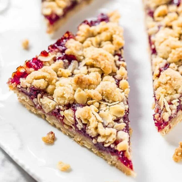 Raspberry Bars with Oatmeal Crumble Topping