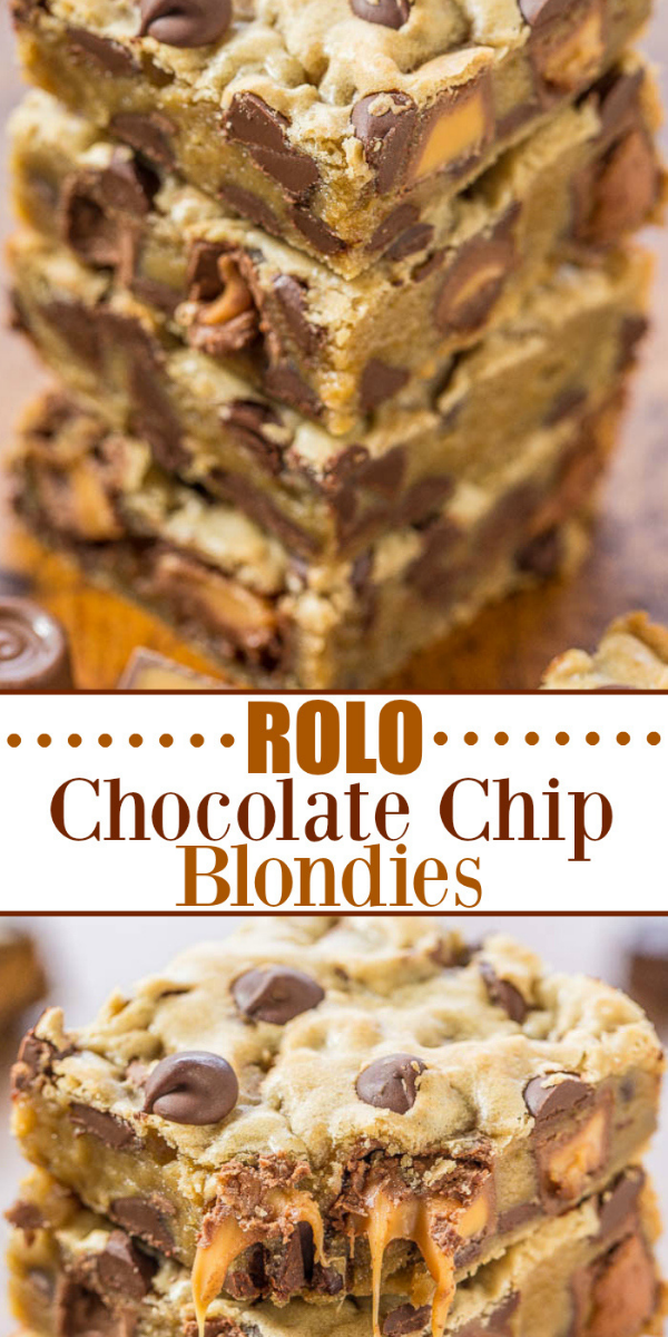 Chocolate Chip Rolo Cookie Bars — Gooey caramel, chocolate chips, and buttery soft dough!! Easy, one-bowl, no-mixer recipe that's a guaranteed hit! Who can resist caramel and chocolate!!
