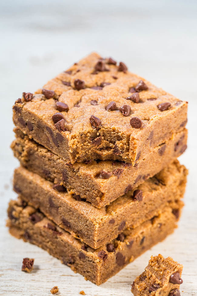 Almond Butter Dark Brown Sugar Chocolate Chip Bars - Soft, chewy, and flourless so the creamy almond butter shines through with chocolate chips in every bite!! Easy, no-mixer recipe that's a guaranteed hit!!