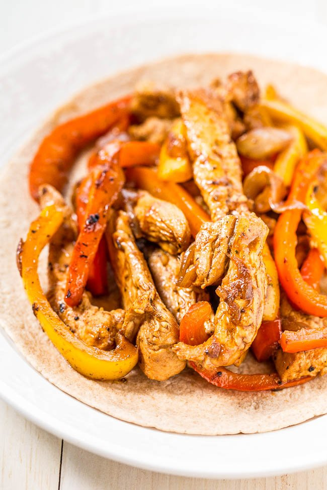 chicken fajita on white plate
