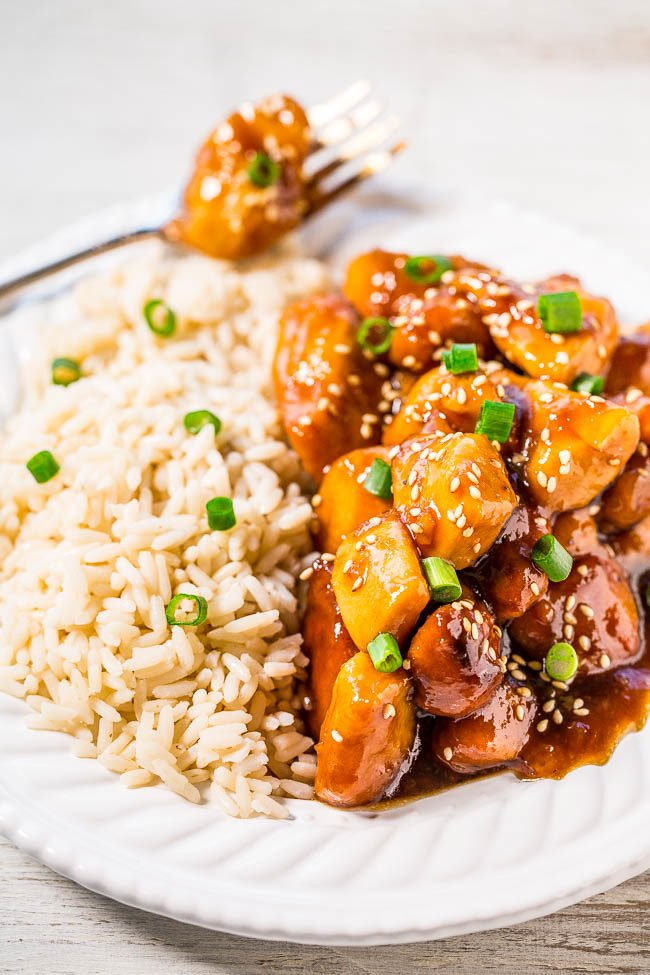 Slow Cooker Orange Chicken on a white plate