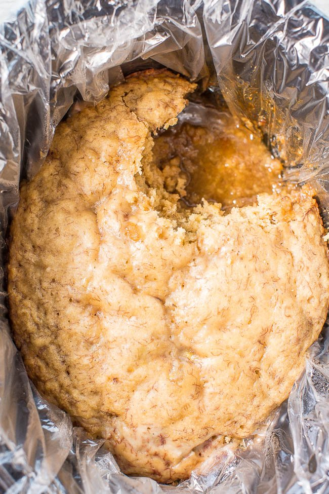 Slow Cooker Banana Bread Cake with Brown Sugar Sauce — Soft, tender CrockPot banana bread with a caramely, brown sugar sauce that develops while the bread cooks!! If you've never made a slow cooker dessert, start with this easy recipe!!