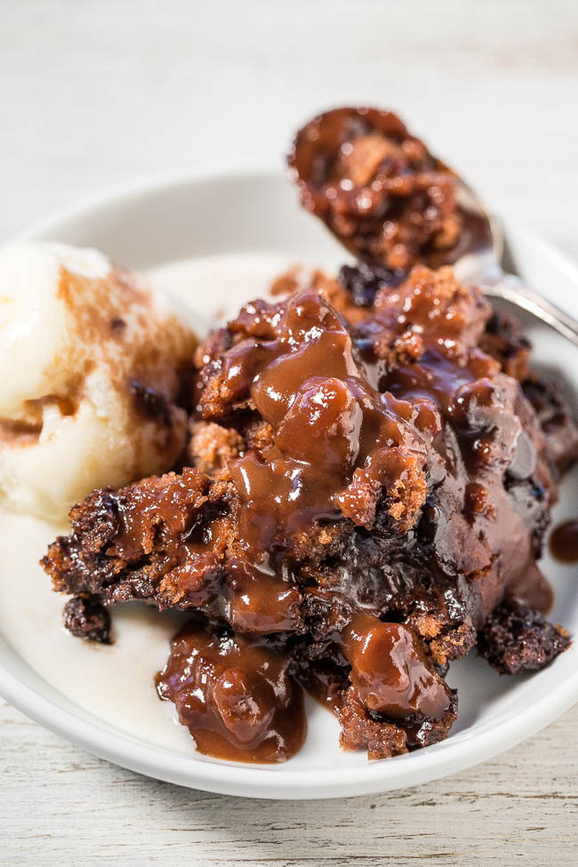Crockpot Lava Cake — This is an easy, no-mixer cake that's super soft, gooey, moist, rich, and fudgy. As the cake cooks, it creates its own hot fudge sauce! For the full experience, serve with ice cream or whipped cream.