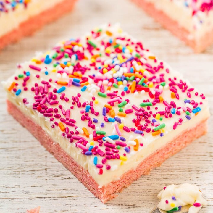 Strawberry Cookie Bars with Cream Cheese Frosting