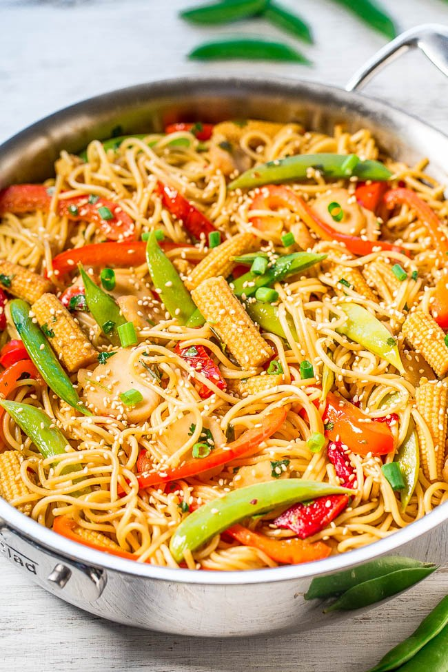 Sweet and Sour Asian Noodles in metal skillet
