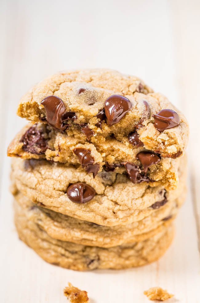 stack of copycat Mrs. Fields Chocolate Chip Cookie