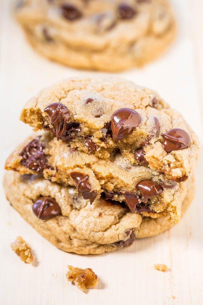 stack of two homemade chocolate chip cookies
