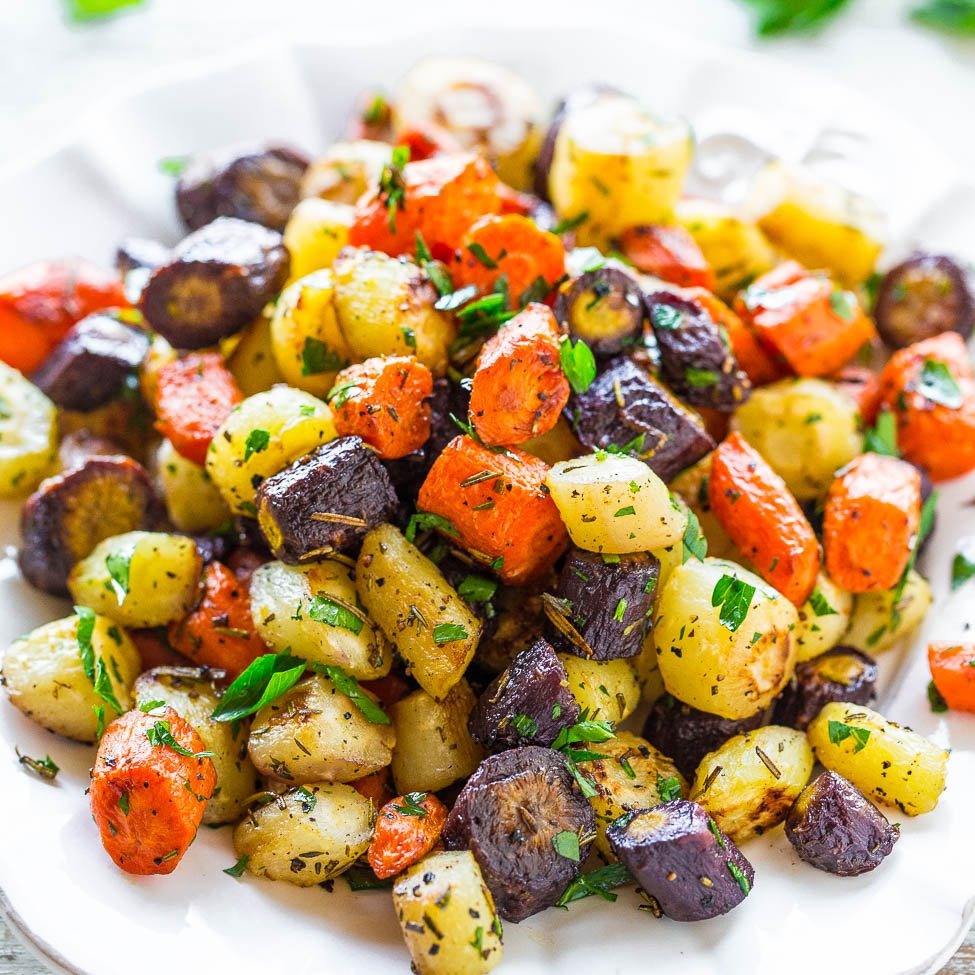 Oven Roasted Rainbow Carrots Easy Carrot Side Dish Averie Cooks