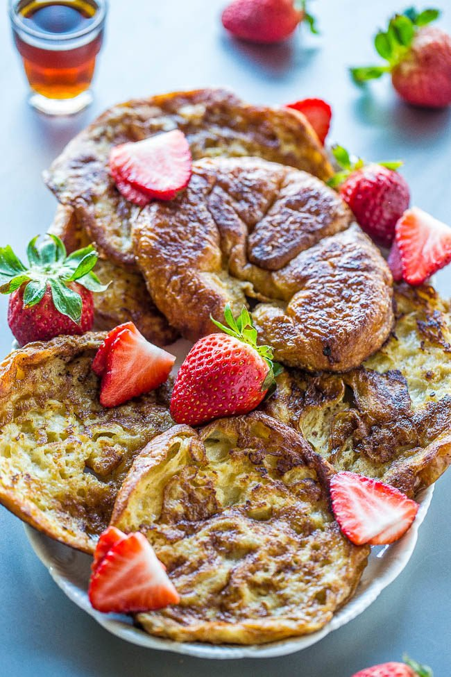 Croissant French Toast - After trying French toast on croissants, you'll never go back to using bread!! Soft, tender, and so buttery it just melts in your mouth!! Fast, easy, and a breakfast worth waking up for!!