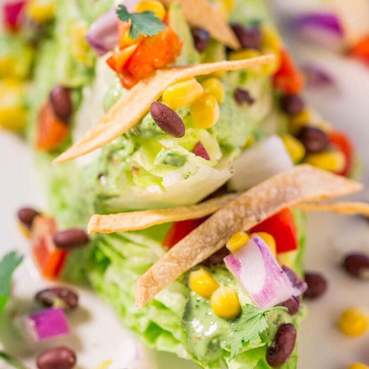 Mexican Wedge Salad with Creamy Avocado-Cilantro Dressing