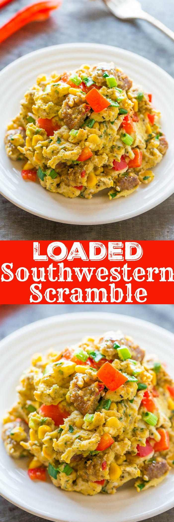 Loaded Southwestern Scramble - Don't settle for plain scrambled eggs when you can have these!! Peppers, onions, corn, and more for flavor and texture! Easy, ready in 10 minutes, and healthy!!